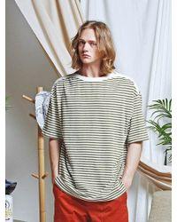 FRIZMWORKS - Neck Line Stripe Tee _ Olive - Lyst