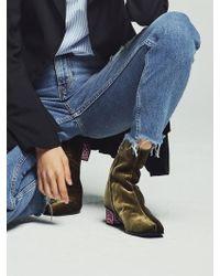W Concept - Velvet Angle Boots Khaki - Lyst