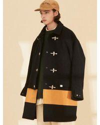 W Concept - Ol126 Color Block Coat Navy Mustard - Lyst