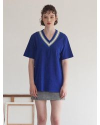 TARGETTO - V-neck Knit Blue - Lyst