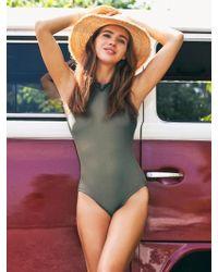 YVONNEB - High Neck Khaki Swimsuit - Lyst