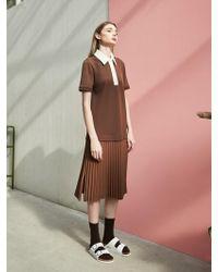 COLLABOTORY - Pique Pleats Dress Camel - Lyst