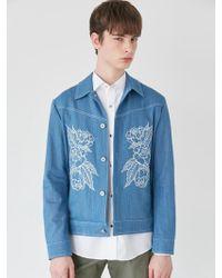BONNIE&BLANCHE - Embroidered Denim Jacket Sky Blue - Lyst