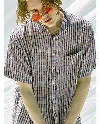 VOIEBIT - V433 Silky Check Half-shirt_black - Lyst