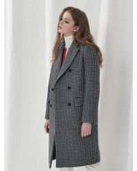 a.t.corner - Black Check Three Button Long Coat Amco7d131bk - Lyst