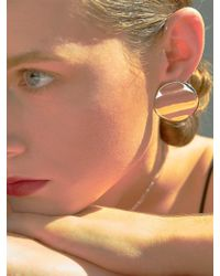VIOLLINA - Unbalance Round Button Earrings Silver - Lyst
