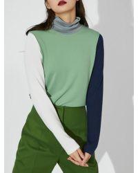 Aheit - Colour Block High Neck Jersey Green - Lyst