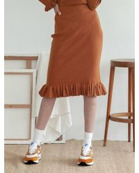 TARGETTO - Ruffle Knit Skirt Camel - Lyst
