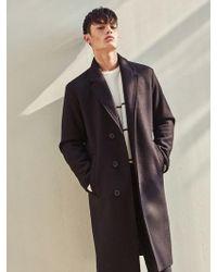 LIUNICK - Woolen Durable Half Double Coat Black - Lyst