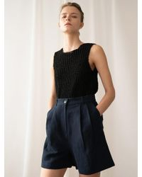 among - A Herringbone Linen Shorts_navy - Lyst