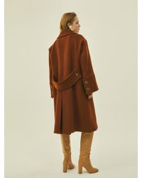 W Concept - Wide Wool Double Coat In Brown - Lyst