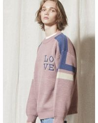 W Concept - [unisex] Kn029 Love Line Sweater Indi Pink - Lyst