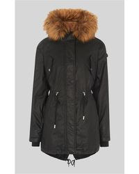 Whistles - Faux-fur-lined Waxy Parka - Lyst