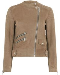 Whistles - Suede Collarless Leather - Lyst