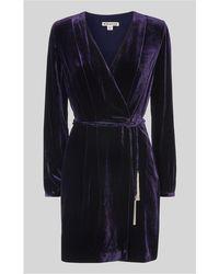 Whistles - Lavone Silk Mix Velvet Dress - Lyst