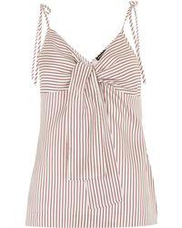 Whistles - Silk Stripe Tie Front Cami - Lyst