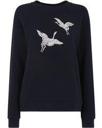 Whistles - Crane Embroidered Sweatshirt - Lyst