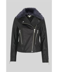 Whistles - Toscana Collar Leather Jacket - Lyst