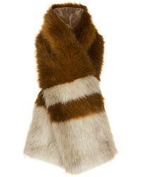 Whistles - Duvall Stripe Faux Fur Scarf - Lyst