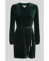 Whistles - Lavone Velvet Wrap Dress - Lyst