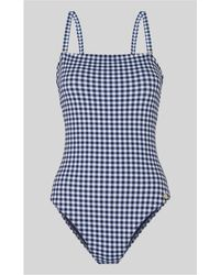 Whistles - Gingham Square Neck Swimsuit - Lyst