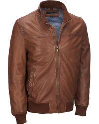 Wilsons Leather - Stand Collar Genuine Lamb Bomber Jacket - Lyst