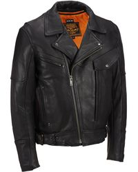 Wilsons Leather - Web Buster Big & Tall Milwaukee Leather Asymmetrical Leather Motorcycle Jacket W/ Padded Lining - Lyst