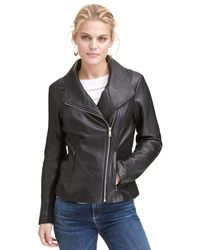 Wilsons Leather - Web Buster Designer Brand Asymmetrical-zip Leather Jacket W/ Knit Panel Sleeves - Lyst