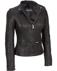 Wilsons Leather - Black Rivet Stitch Shoulder Leather Jacket W/nipped Waist - Lyst