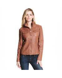 Wilsons Leather - Web Buster Zip Front Leather Jacket W/ High Collar - Lyst