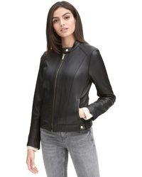 Wilsons Leather - Famous Maker Center Zip Racer Leather Jacket W/ Quilt Panels - Lyst