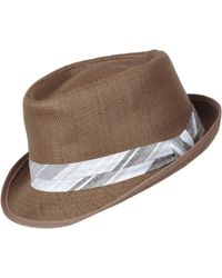 b02bbf6b Lyst - Catarzi Straw Fedora With Leather Band in Brown for Men