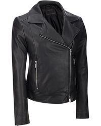 Wilsons Leather - Famous Maker Asymmetrical Zip Genuine Leather Jacket W/ Notch Collar - Lyst