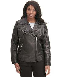 Wilsons Leather - Plus Size Designer Brand Asymmetrical Zip Leather Jacket W/ Metallic Details - Lyst