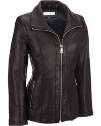 Wilsons Leather - Plus Size Designer Brand Convertible Collar Lamb Jacket W/ Metallic Accents - Lyst