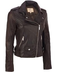 Wilsons Leather - Asymmetrical Cycle Leather Jacket W/ Zippered Cuffs - Lyst