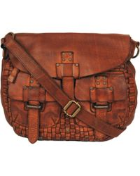 Wilsons Leather - Vintage Flap Over Leather Messenger W/ Woven Front And Pockets - Lyst
