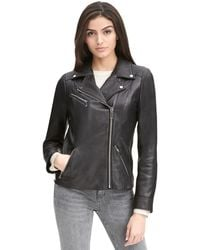 Wilsons Leather - Web Buster Asymmetrical Zip Leather Jacket W/ Metallic Details - Lyst