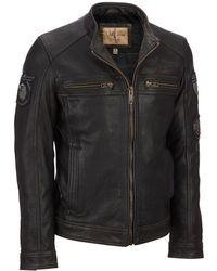 Wilsons Leather - Vintage Embossed Cycle Leather Jacket W/ Patches - Lyst