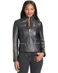 Wilsons Leather - Center Zip Stud Detailed Sleeve And Shoulder Vintage Leather Jacket - Lyst