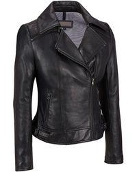 Wilsons Leather - Zipper Collar Asymmetrical Lamb Cycle Jacket - Lyst