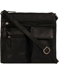 Wilsons Leather - Double Front Pocket Top Zip Leather Crossbody - Lyst