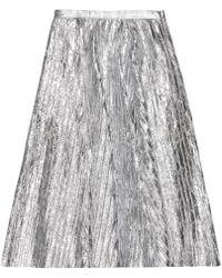 VEIL LONDON - Pleated Silver Leather Midi Skirt - Lyst