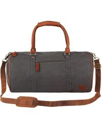 MAHI - Leather Classic Duffle Overnight/gym Bag In Grey Canvas - Lyst