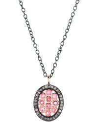 LÁTELITA London - Diamond Oval Pink Tourmaline Necklace - Lyst