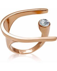 Neola - Lunaria Rose Gold Ring With Blue Topaz - Lyst