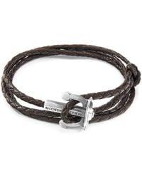 Anchor & Crew - Dark Brown Union Anchor Silver & Braided Leather Bracelet - Lyst