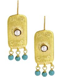 Ottoman Hands - Pearl And Turquoise Antique Rectangle Beaded Earrings - Lyst
