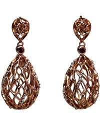 Bellus Domina - Rose Gold & Rhodolite Hive Earrings - Lyst
