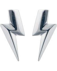Edge Only - 3d Flat Top Lightning Bolt Earrings Silver - Lyst